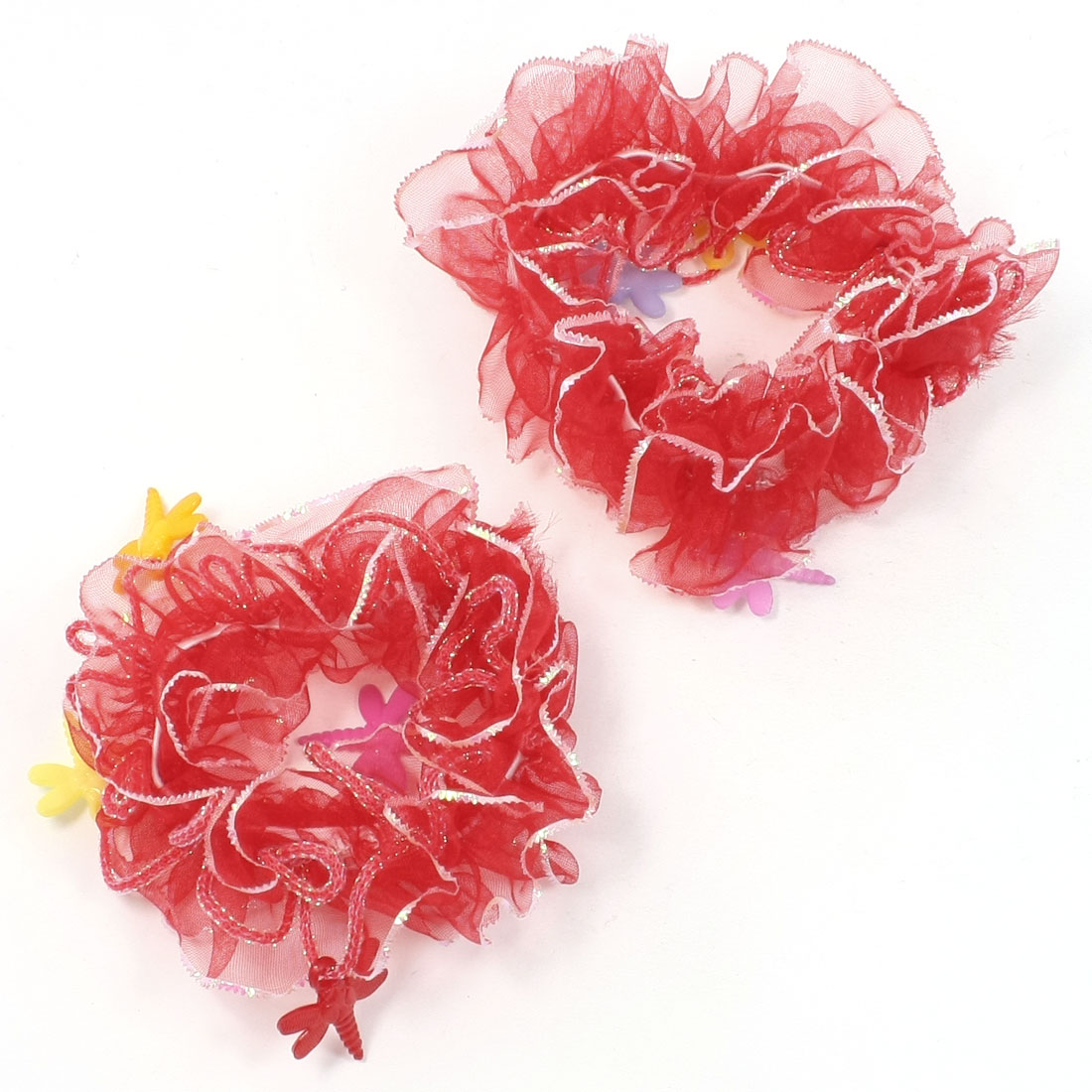 Pair Floral Decor Elastic Veil Hair Ponytail Holders Red for Girls