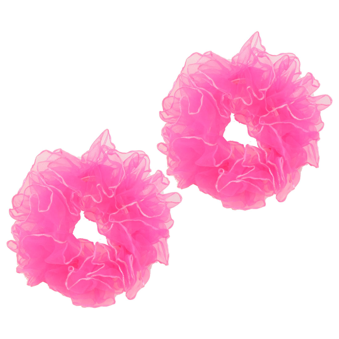 Hot Pink Women Girls Gold Tone Rim Hair Ponytail Holders Band Tie 2 Pcs