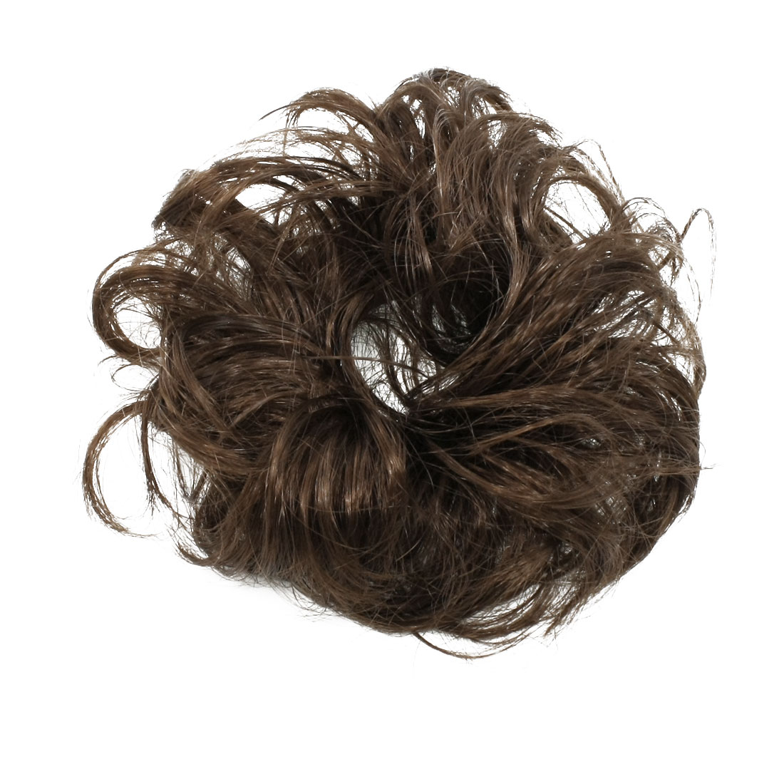 Medium Dark Brown Faux Hair Wedding Stretchy Band Curly Hairpiece Wig Bun