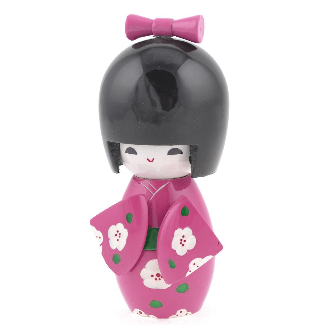 White Plum Blossom Print Wooden Japanese Kimono Kokeshi Doll Toy Pink