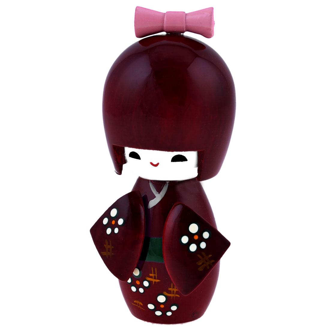 Claret Japanese Kimono Girl Kokeshi Modelling Wooden Doll Gift
