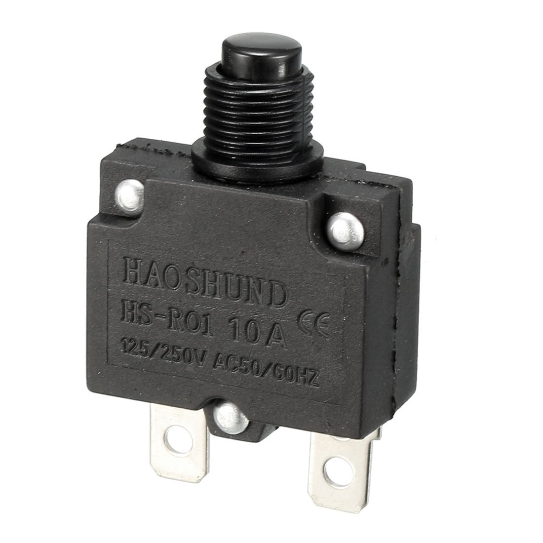 HS-R01 AC 125V/250V 10A 50/60Hz Momentary Press Button Switch Black 2 Terminals