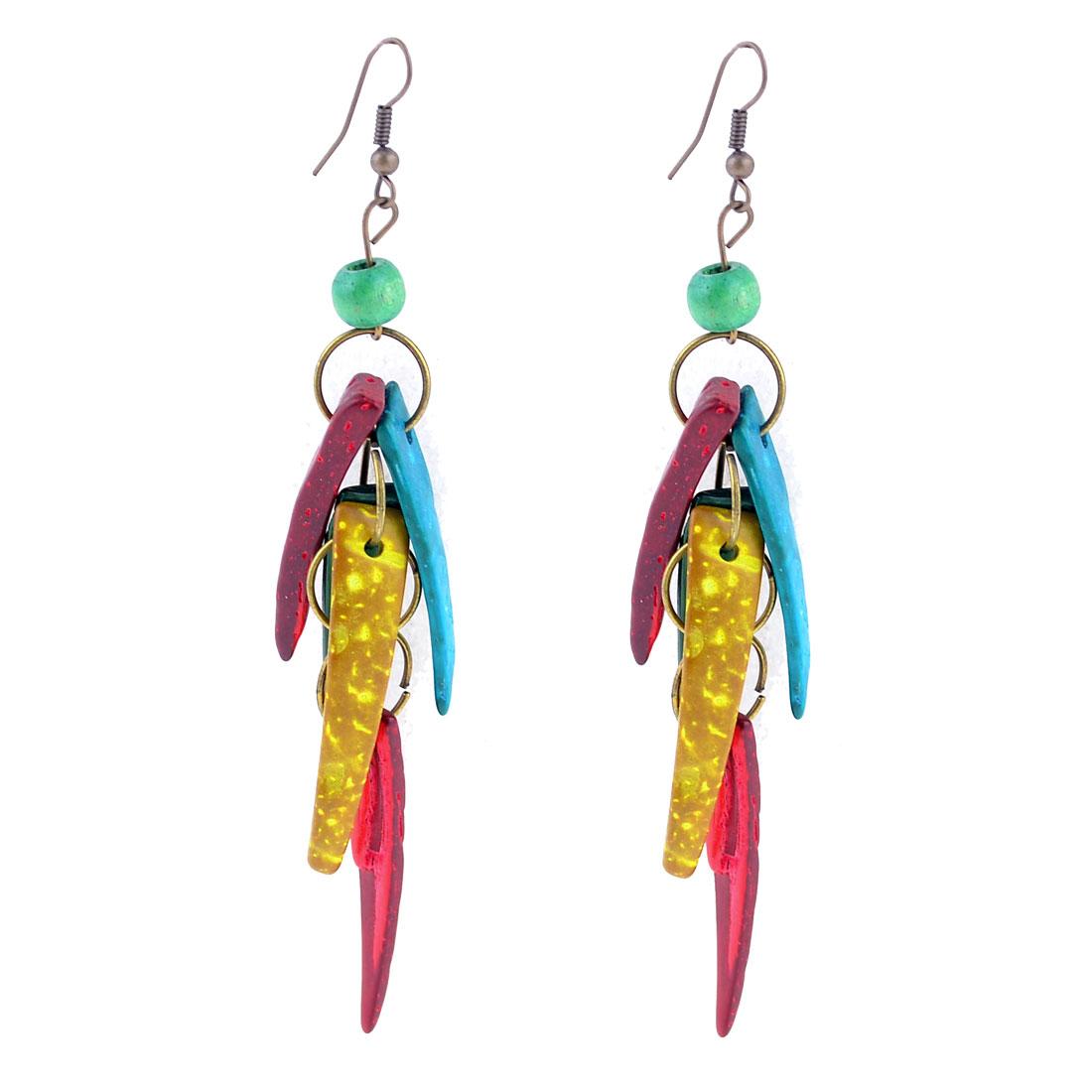Woman Decor Colorful Dog Teeth Shape Pendant Dangling Ear Hook Earrings Pair