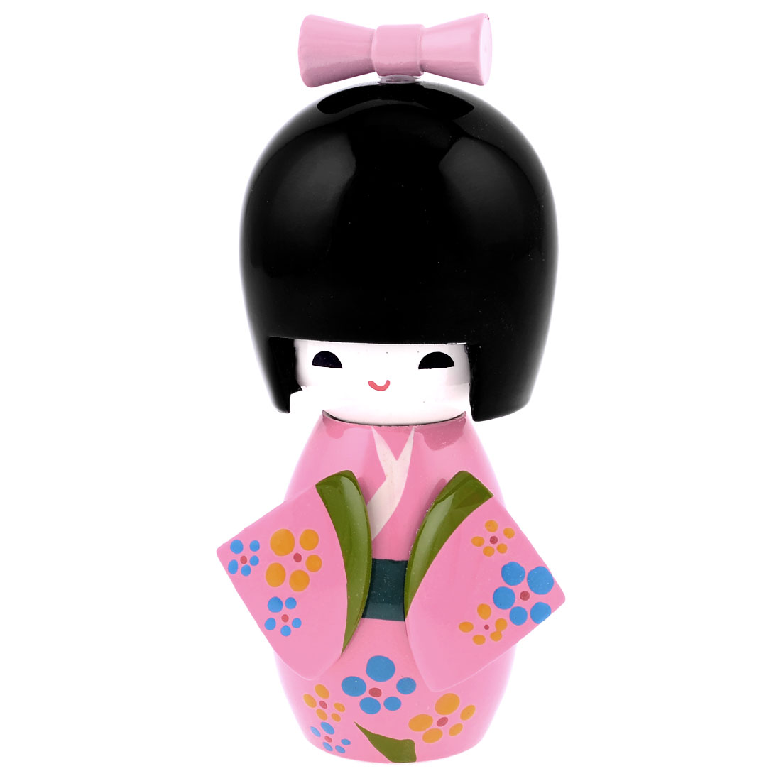 Office Desk Decorctive Wooden Japanese Kimono Kokeshi Doll Toy Pink