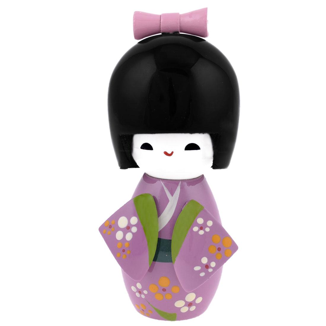Purple Cute Japanese Kimono Kokeshi Modelling Wooden Doll Desk Decor