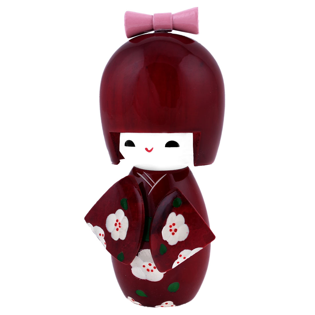 White Plum Plossom Detail Claret Wood Japanese Folk Craft Kokeshi Doll