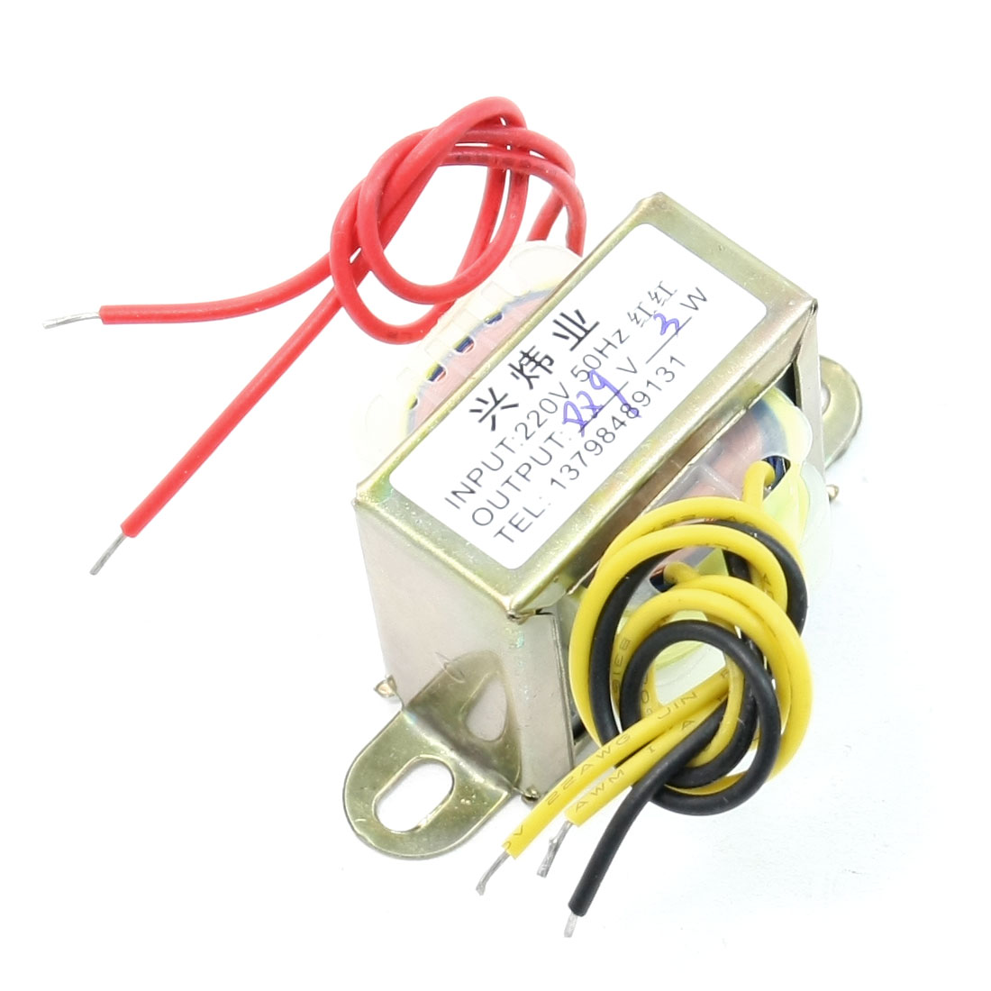 220V 50Hz Input to 9V 3W Output EI Core Double Phase Power Transformer
