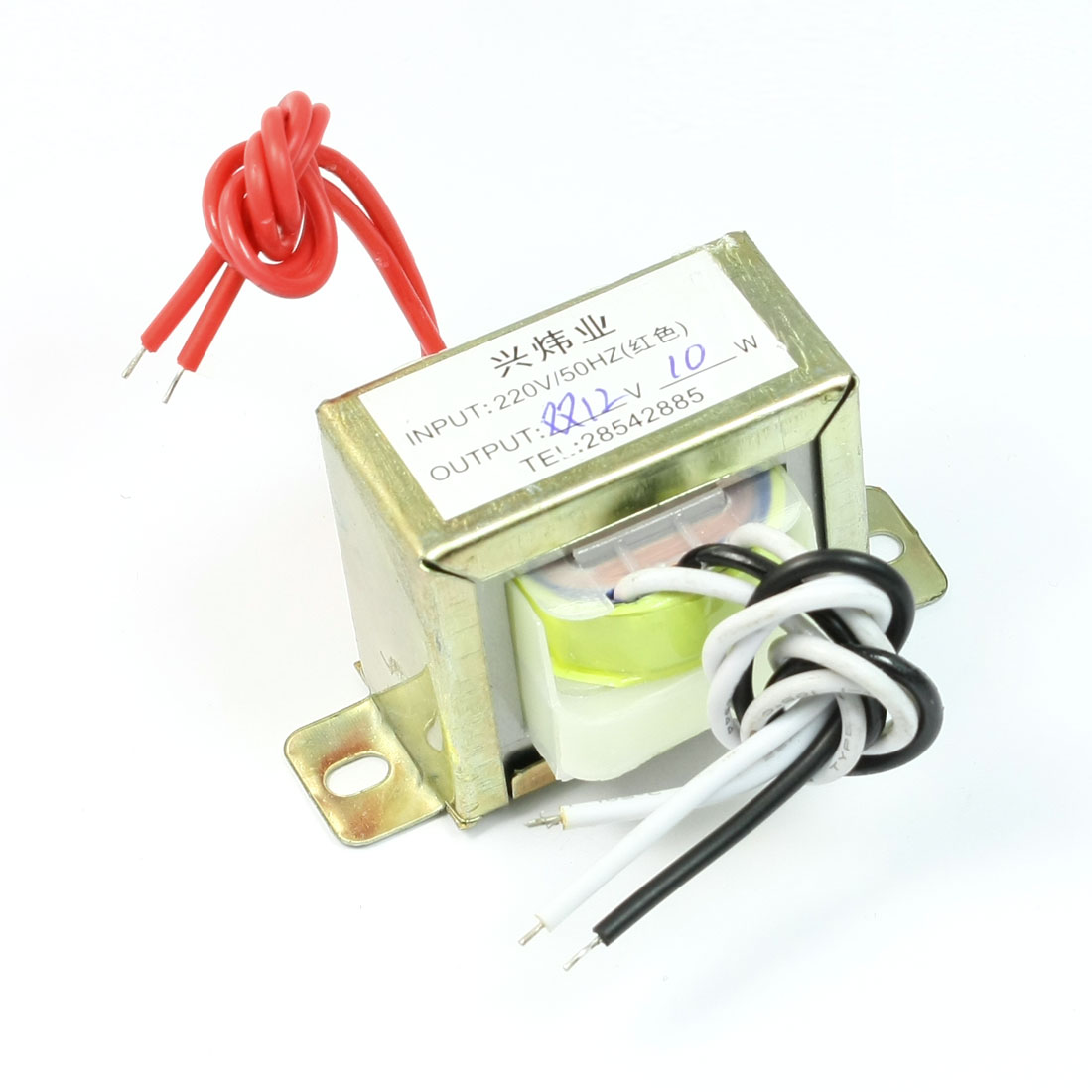 220V 50Hz to 12V 10W Ferrite Core Vertical Double Phase EI Power Transformer