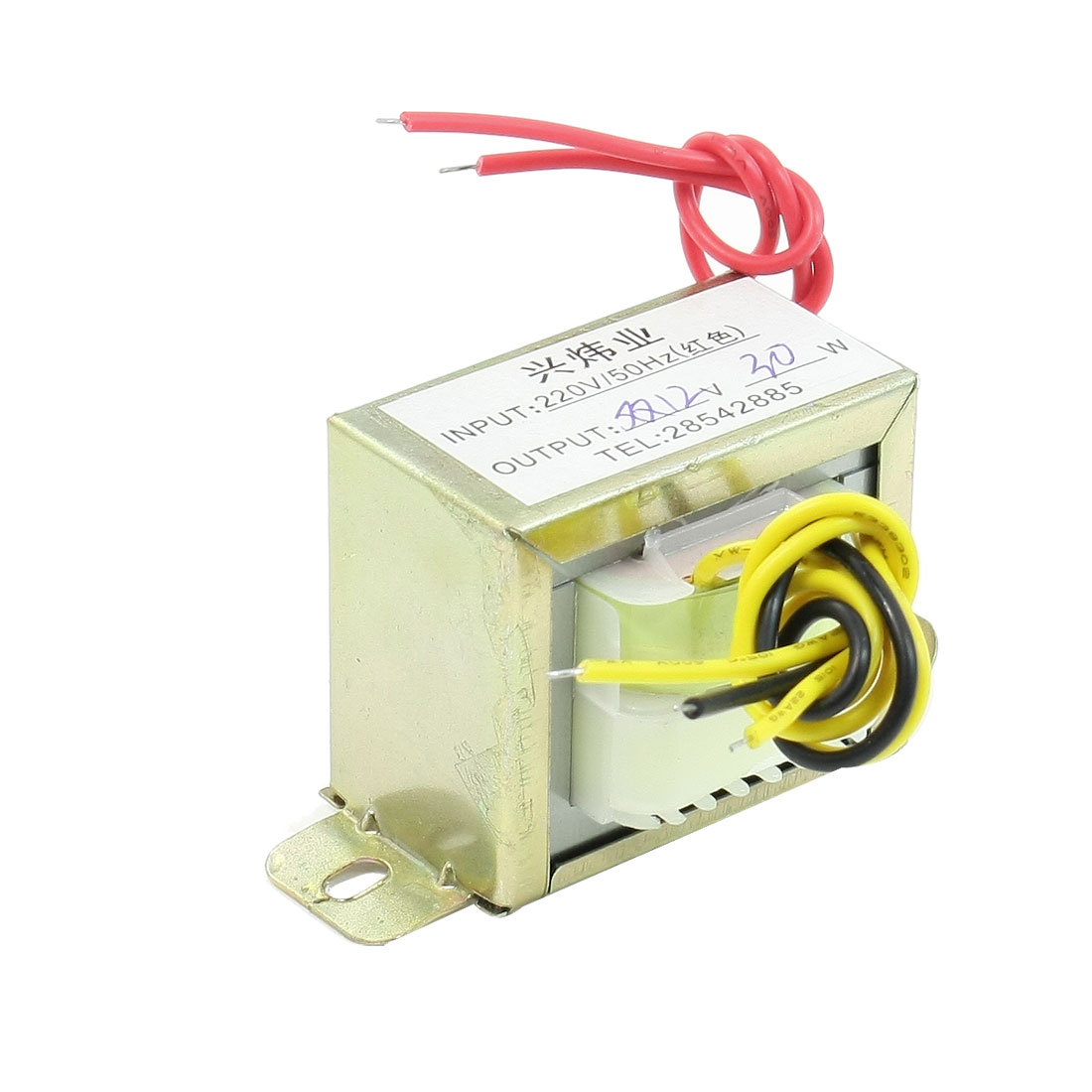 220V 50Hz Input to 12V 30W Output EI Core Double Phase Power Transformer
