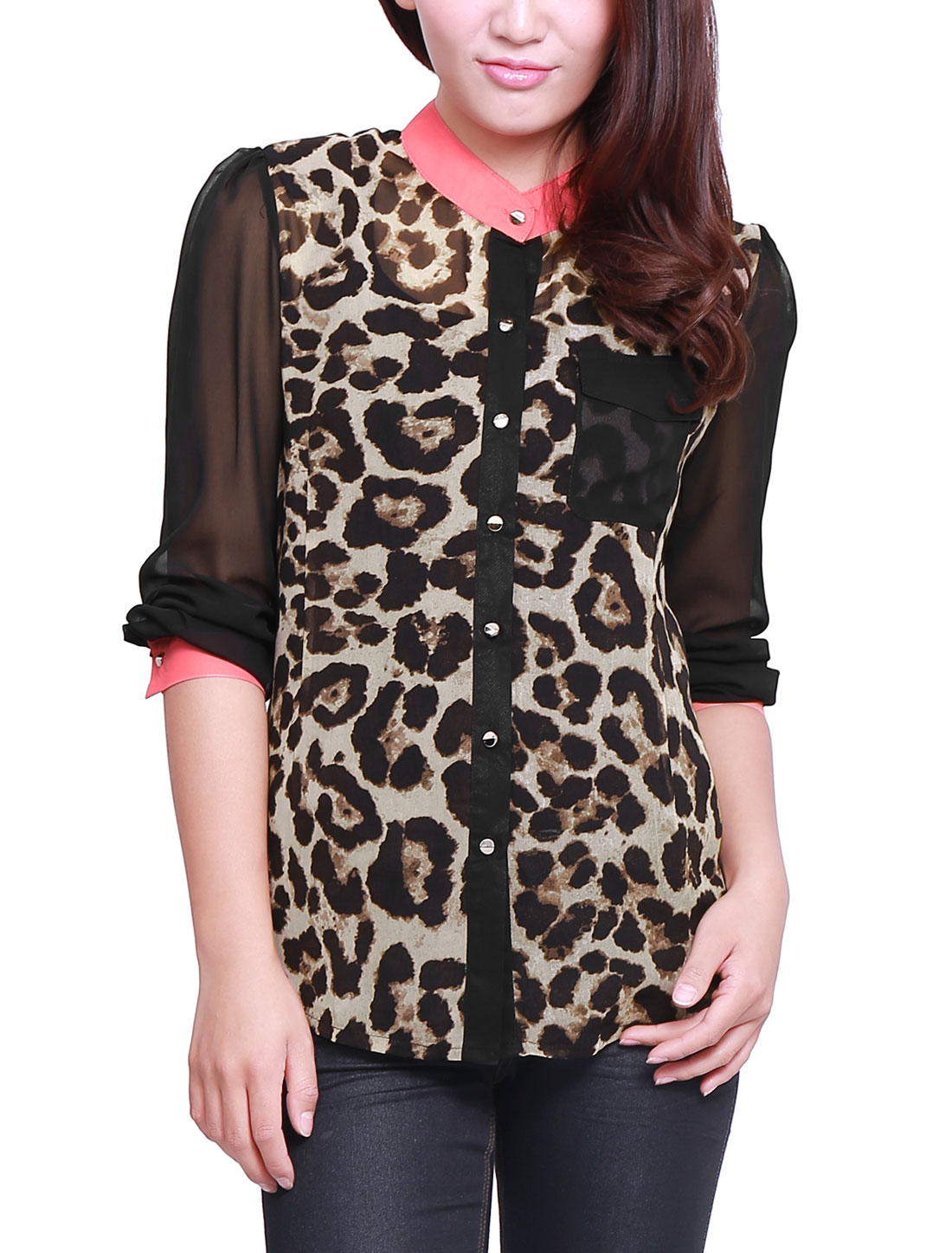 Ladies Chic Black Brown Leopard Prints Semi-Sheer Button Down Shirt M