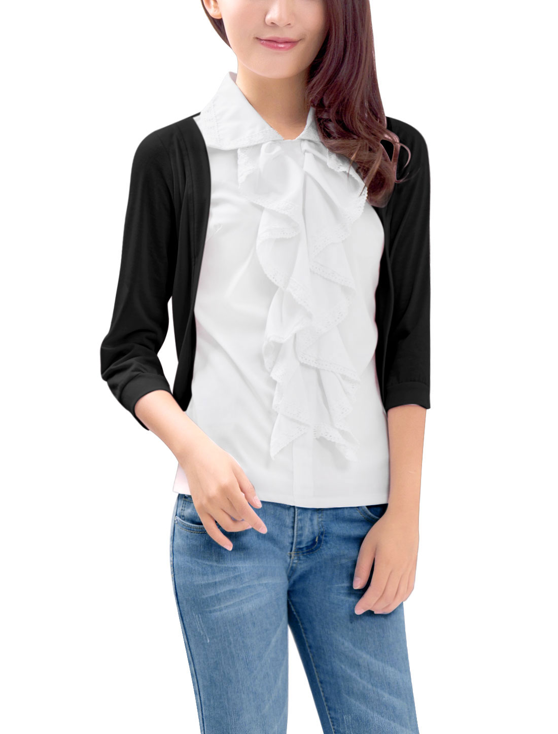 Women Newly Point Collar 3/4 Sleeve Ruffled Front Black White Blouse XL