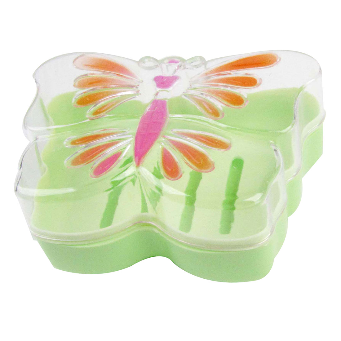 Detachable Lid Orange Butterfly Shaped Hollow Out Bottom Plastic Soap Box Case