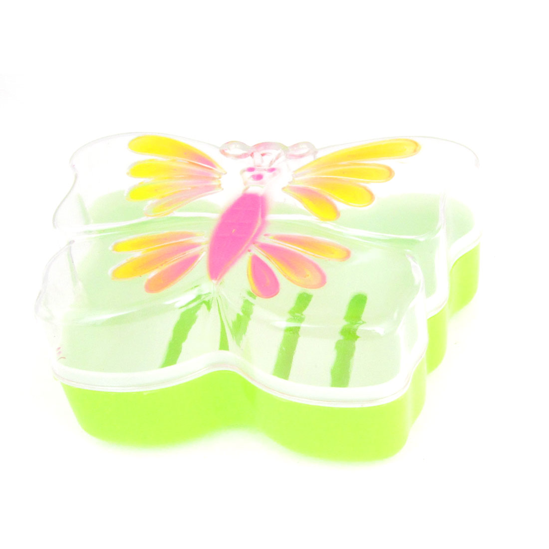 Household Hollow Out Bottom Plastic Yellow Pink Butterfly Design Soap Box Case