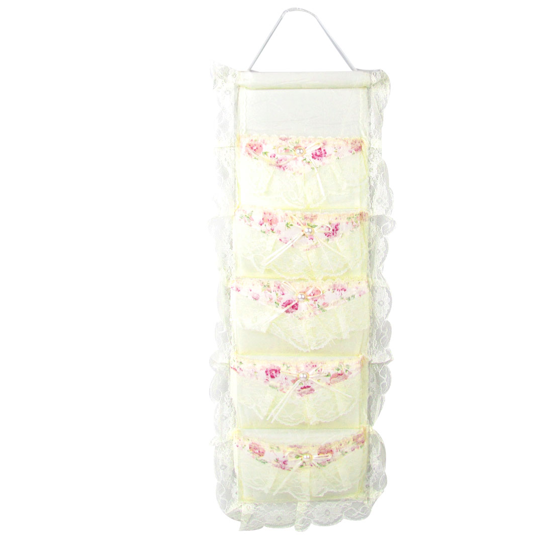 Flowers Pattern Lace Detail Beige 5 Layers Wall Door Hanging Bag Pouch