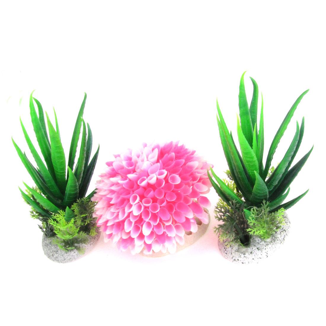 """4.1"""" 2.7"""" High Aquarium Fish Tank Ornament Green Pink Plastic Water Plant 3 Pcs"""
