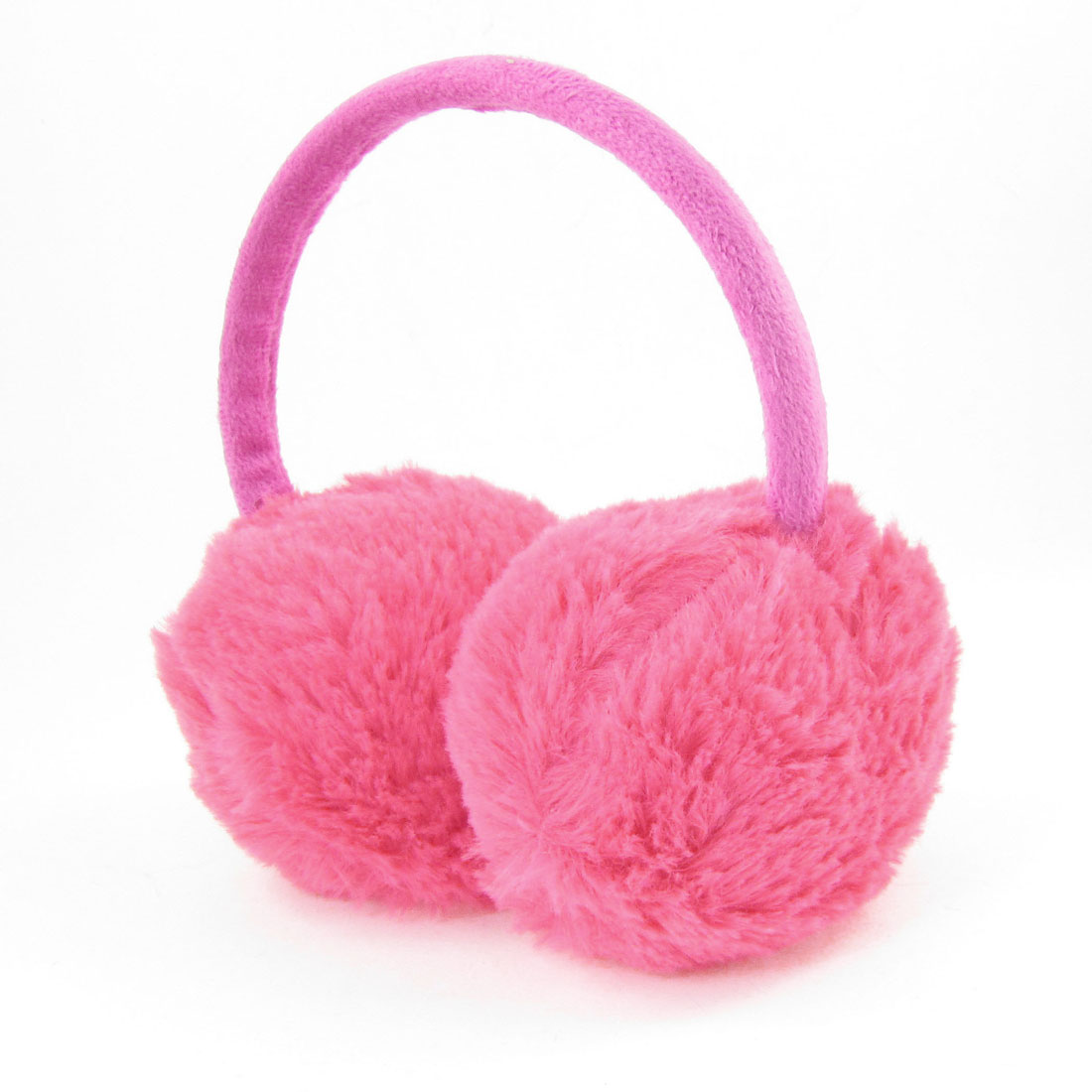 Girls Plastic Frame Plush Ear Warmer Winter Back Earmuffs Hot Pink