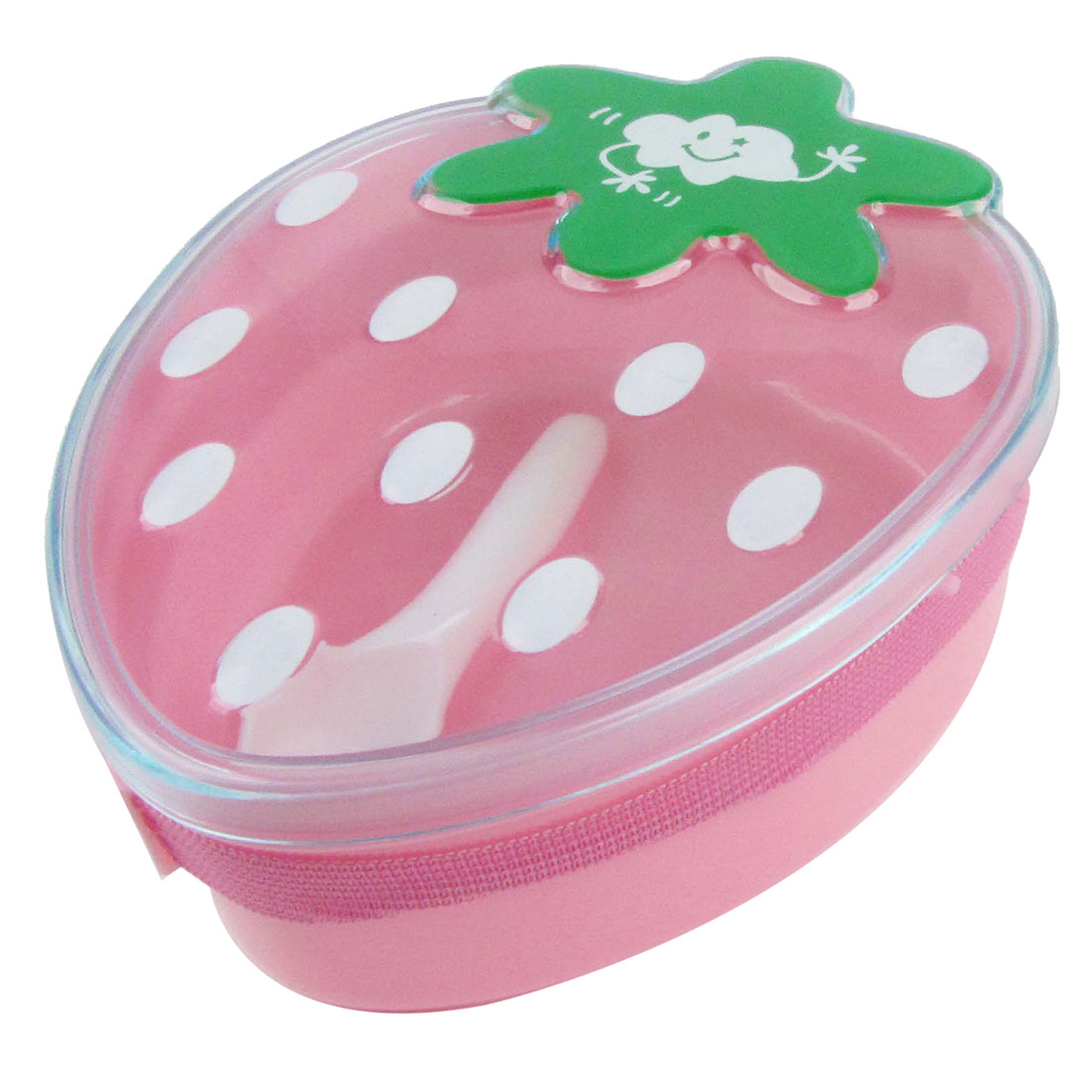 Portable Plastic Cartoon Strawberry Shaped Lunch Breakfast Carrying Box Pink