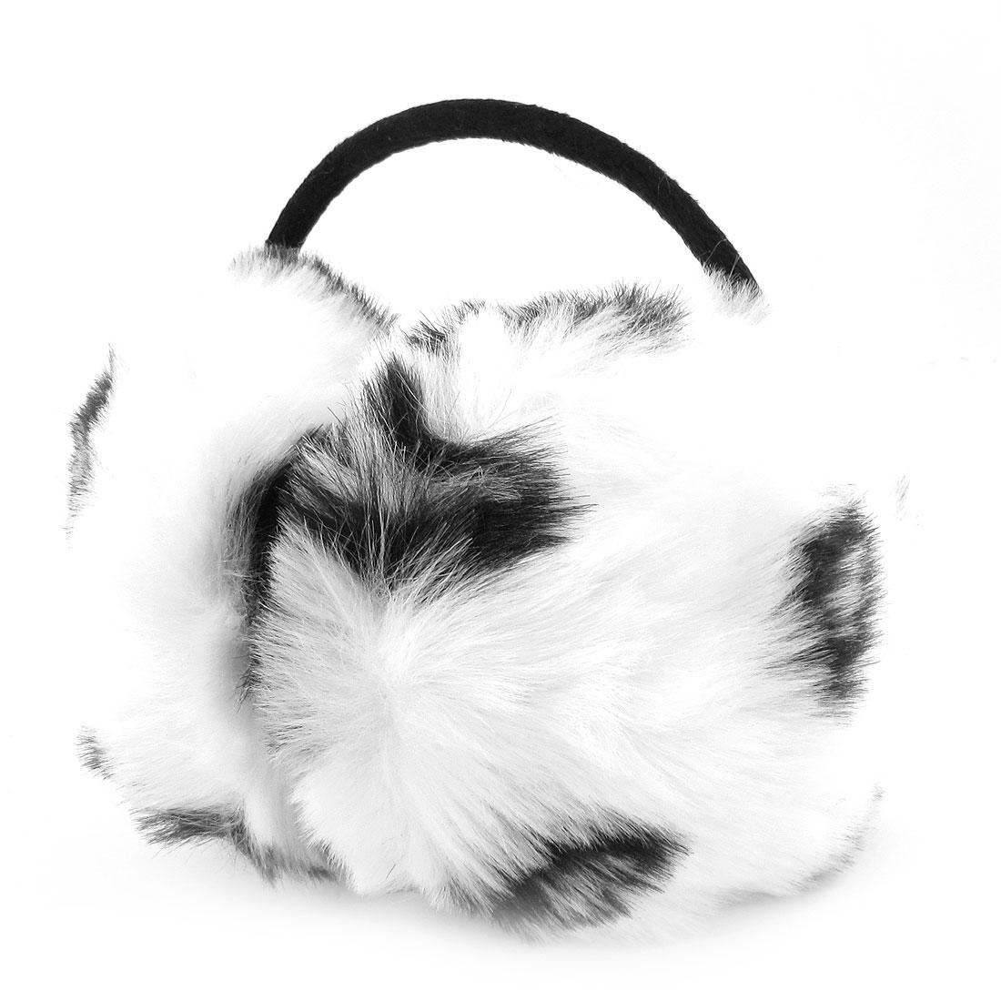 Women Men Plush Coated Metal Frame Black White Pads Back Earmuffs Headband