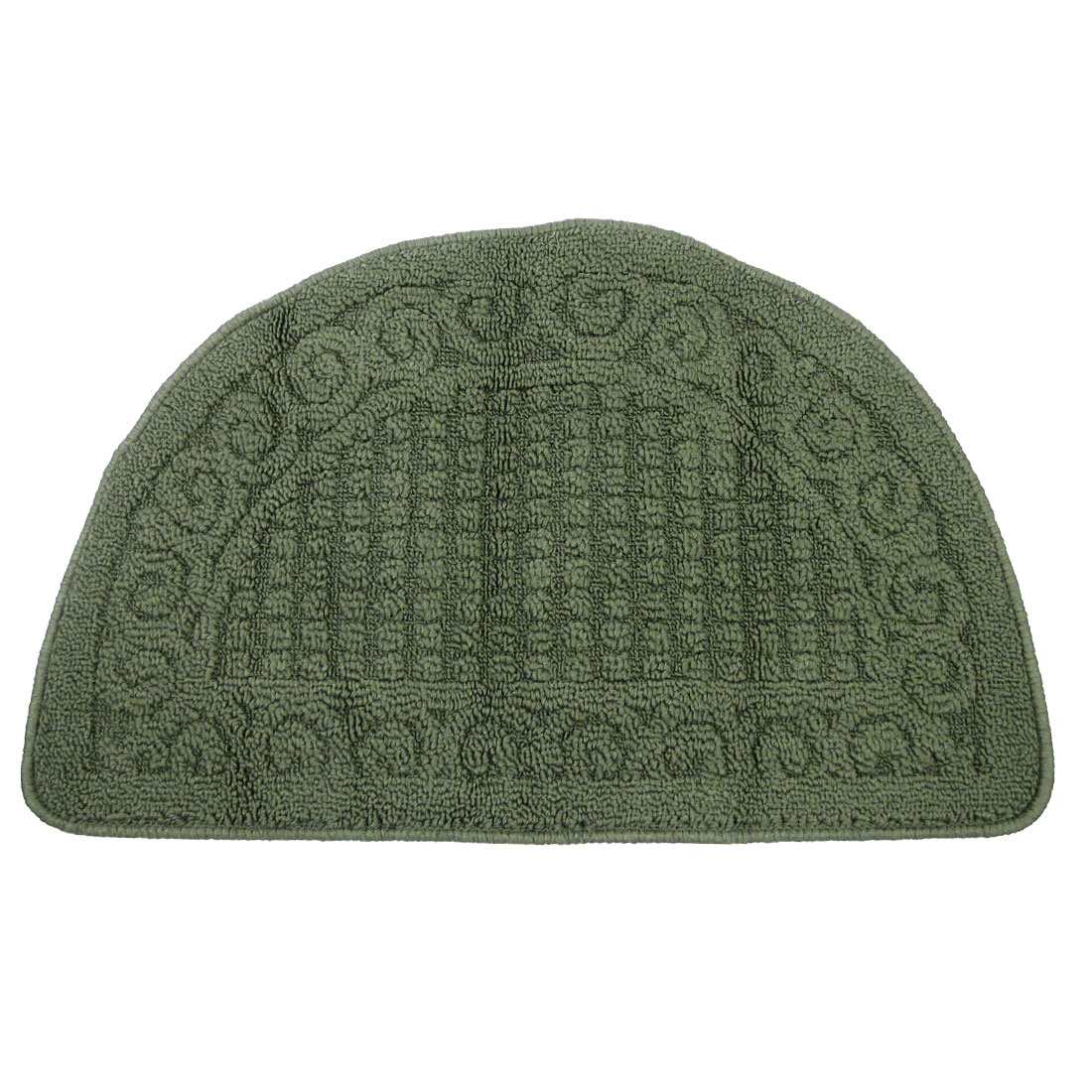 Rubber Backing Dark Green Half Round Room Floor Cloth Carpet Mat 40 x 63cm