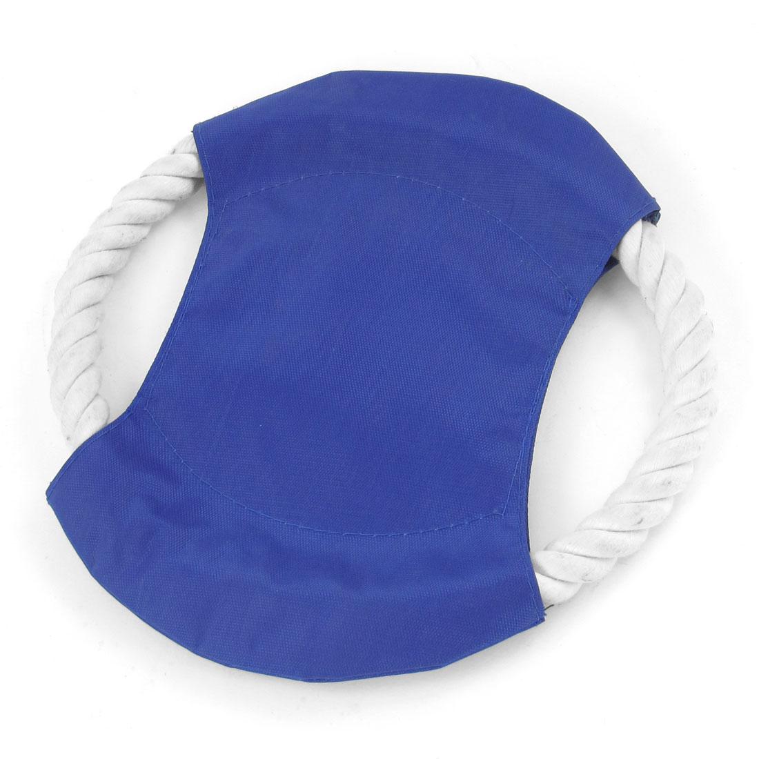 18cm Diameter White Cord Woven Nylon Cover Pet Dog Exercising Flying Blue