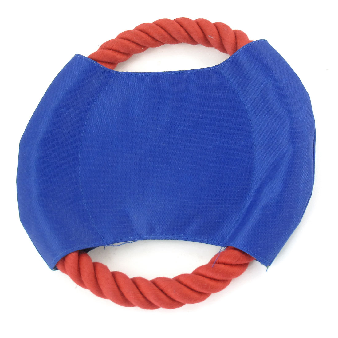 18cm Diameter Red Knit Cotton Rope Pet Dog Training Frisbee Toy Blue