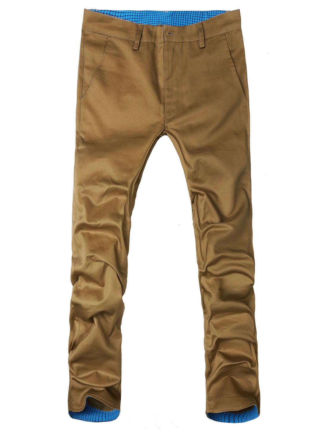 Men Khaki Flap Hip Pockets Plaids Waist Casual Flat Front Trousers W34