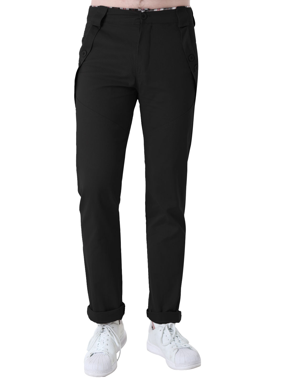 Men Black Casual Slant Pockets Front Plaids Waist Pants Trousers W32