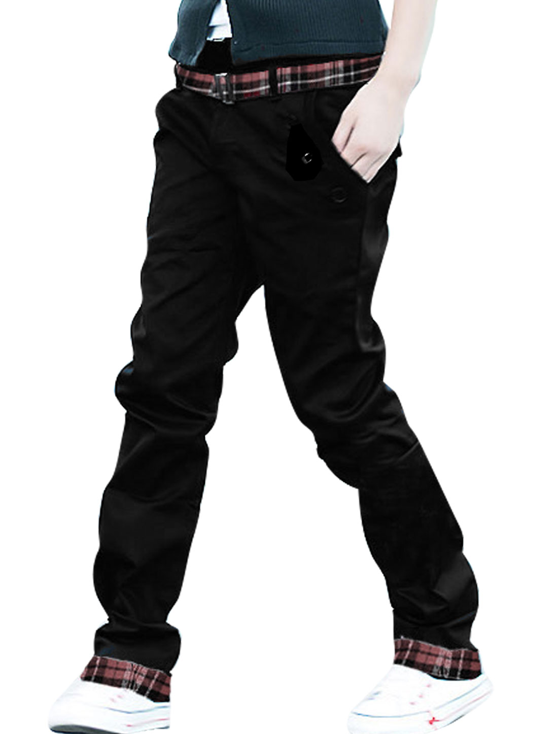 Men Black Checked Trim Fake Hip Pockets Casual Fit Flat Front Pants W32