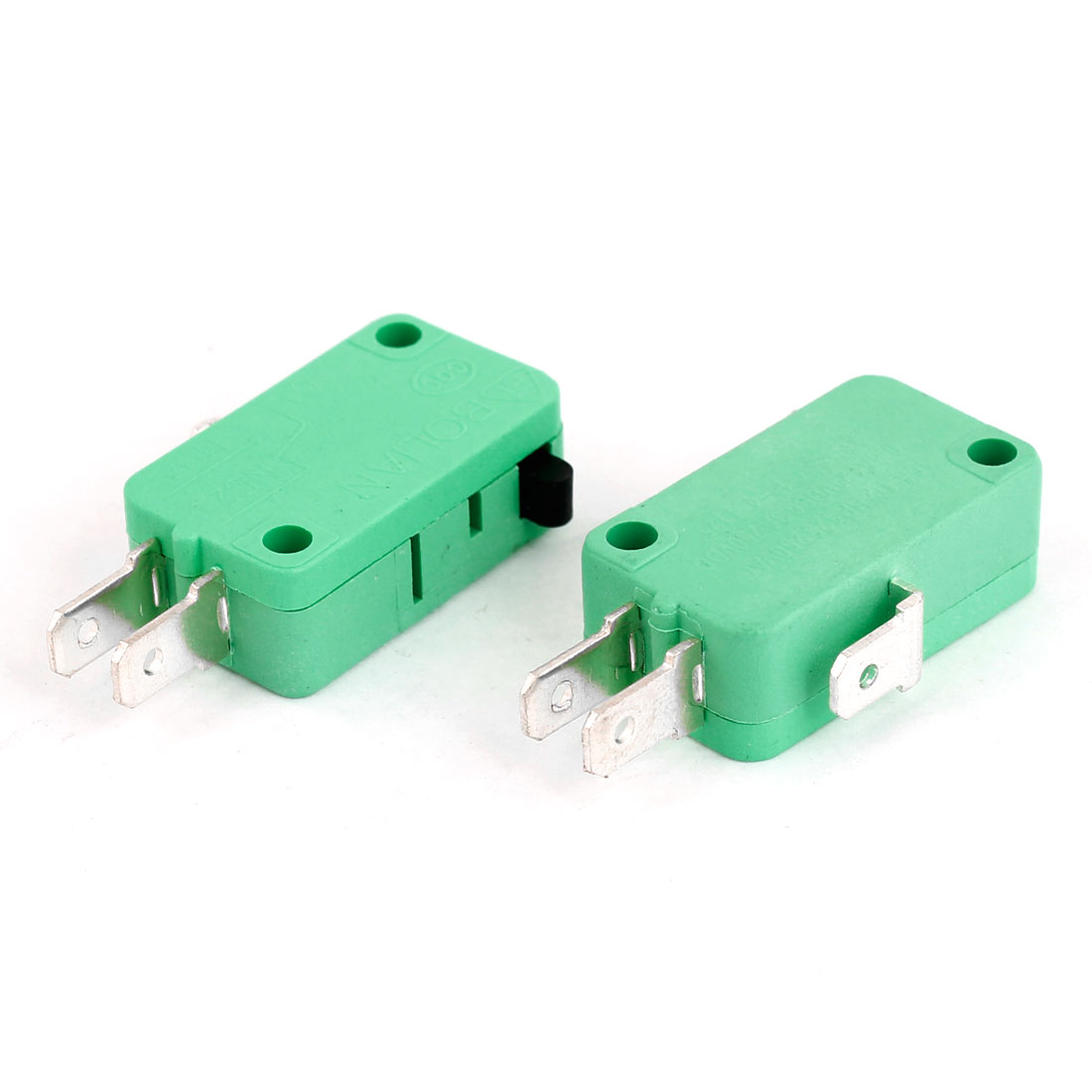 2 Pcs 3 Pin 3-Terminals Push Button Actuator SPDT Micro Switch Green