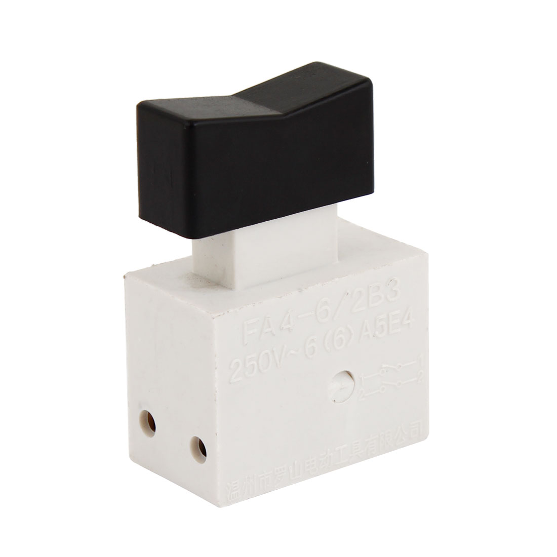 Black White Plastic DPST NO Trigger Switch Push Button AC 250V 6A