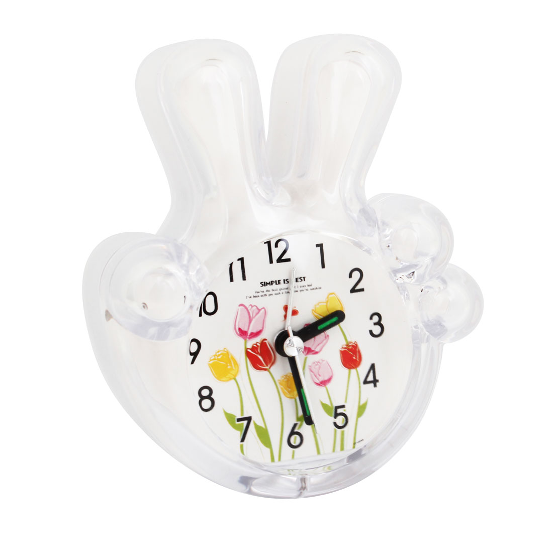 White Clear Palm Shape Floral Pattern Dial Compact Table Alarm Clock