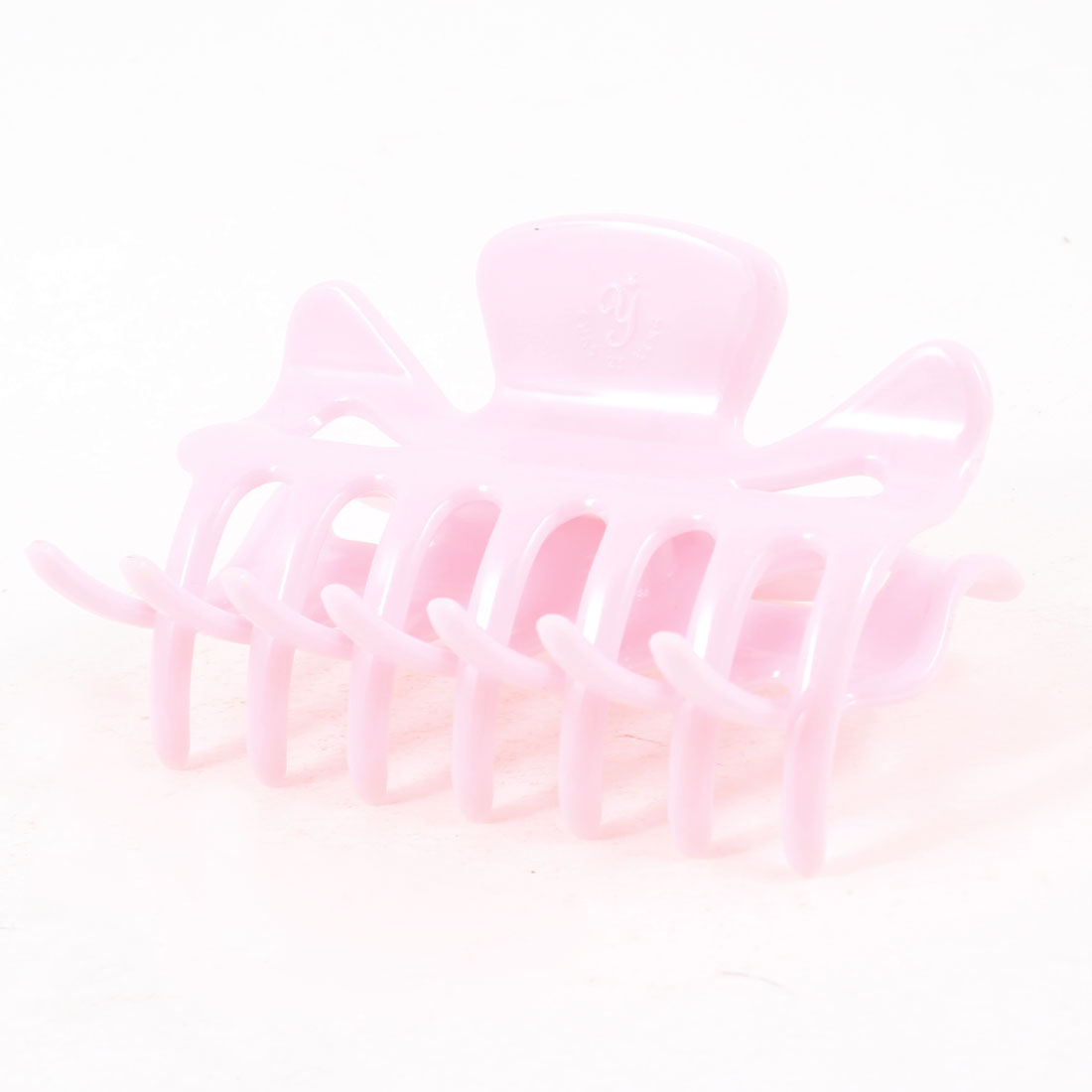 Ladies Pink Plastic Hair Ornament Claw Style Hair Clip Clamp