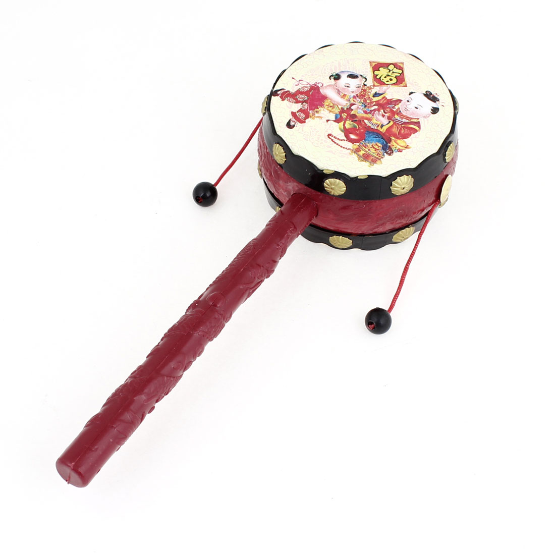 Lucky Boy Pattern Plastic Hand Shake Music Instrument Toy Rattle Drum