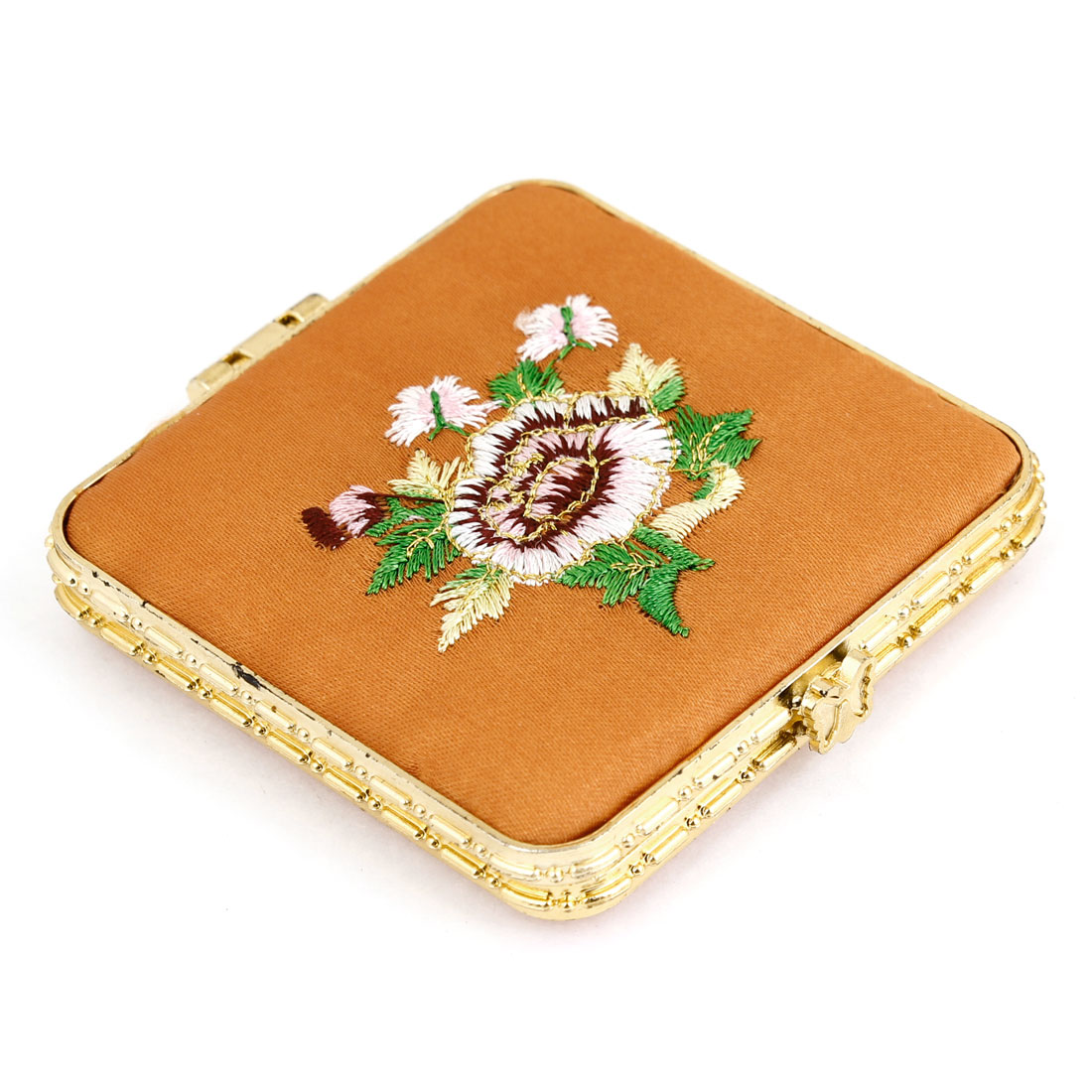 Embroidery Flower Pattern Double Side Faux Silk Coated Compact Mirror Orange