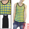Men U Neck Sleeveless Plaids Panel Tank Top Lime Black S