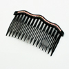 Pink Bling Rhinestones Accent Comb Hair Clip Clamp Black for Women
