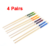 "4 Pairs Kitchen Snowflake Pattern Wood Chopsticks Dinnerware 9.4"" Long"