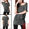 Lady Fake Crystal Decor Tunic Top Shirt Dark Gray L