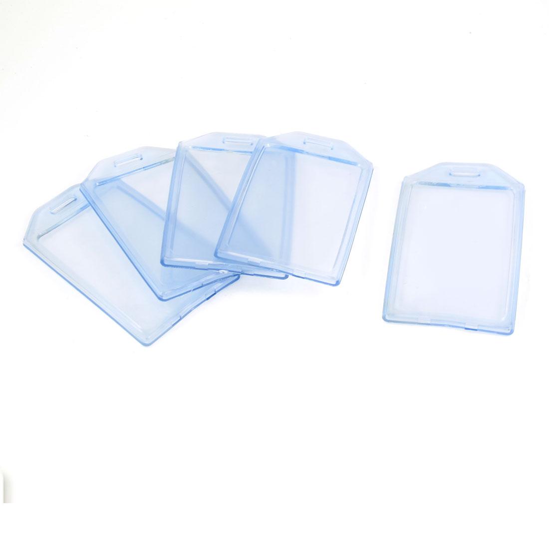 5 Pcs Clear Blue Soft Plastic Vertical ID Card Badge Holders