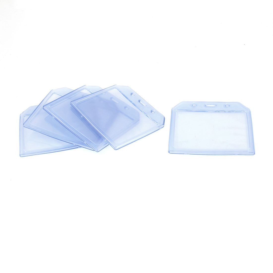 Office Clear Blue Horizontal Soft Plastic Name Cards Badge Holder 5 Pcs