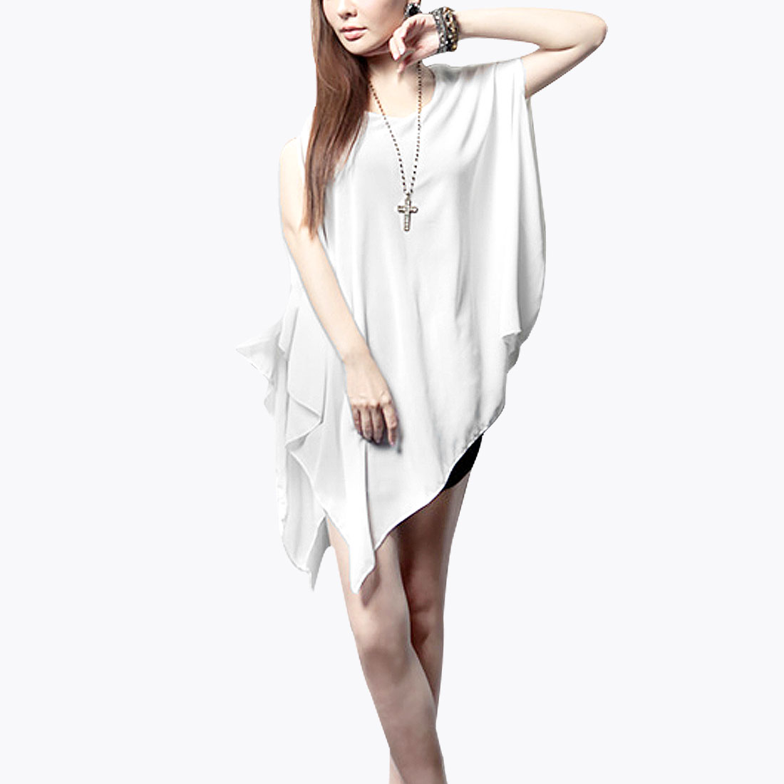 Korean Style Charming Chiffon Blouse See Through White M for Woman