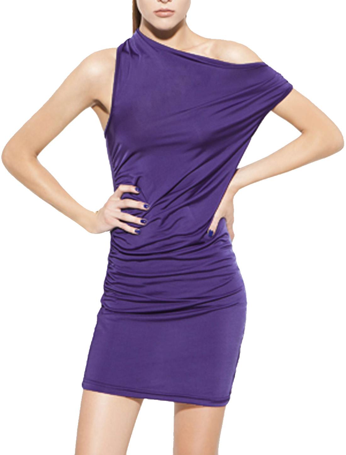 Woman Steath Waist Hip Hugging Off Shoulder Ruffled Mini Dress Purple XS