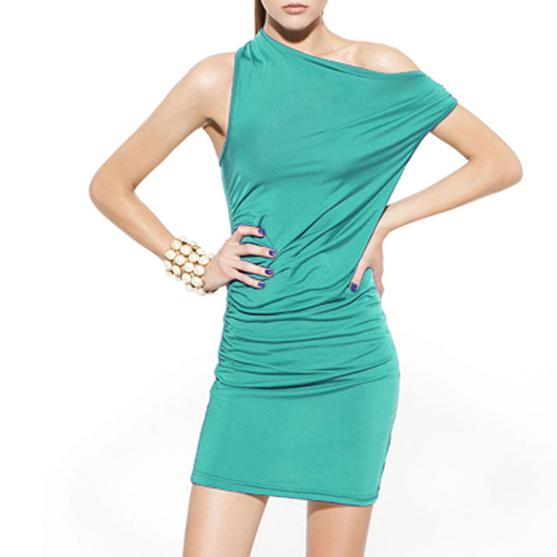 Charming Green Slanting Shoulder Backless Slim Mini Dress XS for Ladies