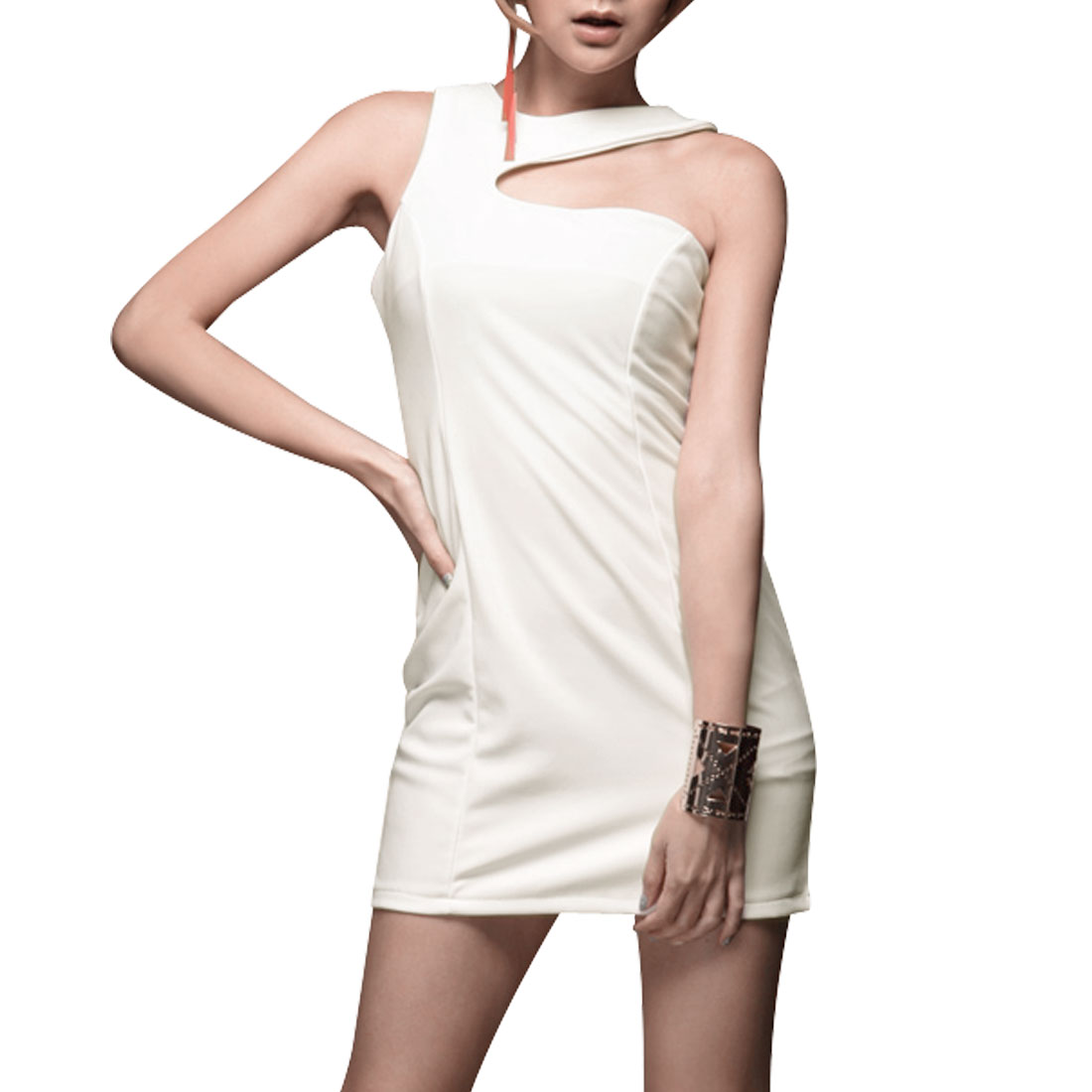 Pullover Sleeveless Hip Hugging Solid White Mini Dress XS for Ladies