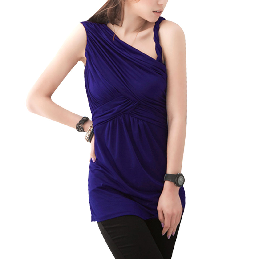 Pollover Slanting Shoulder Ruffled Tunic Shirt Purple XS for Ladies