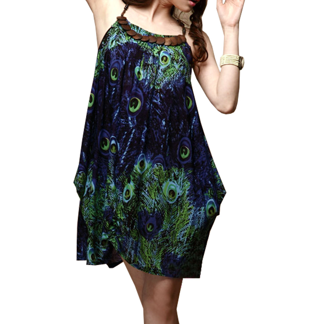 Ladies Round Beed Shoulder Strap Croos Back Mini Dress Dark Blue XS