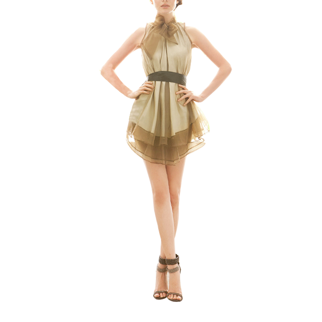 Women Charming Pullover Sleeveless Layered Mini Prom Dress Coffee Color S