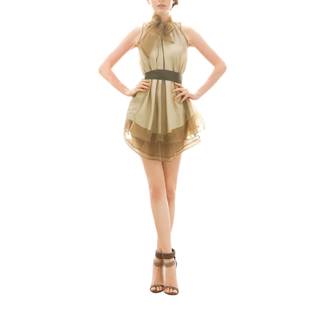 Women Charming Sleeveless Layered Mini Prom Dress Coffee Color S