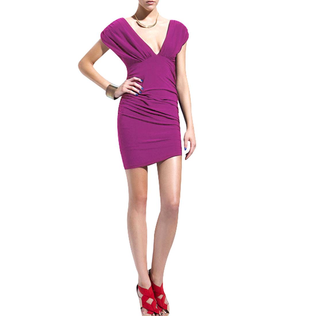 Ladies Sleeves Steath Waist Ruched Side Mini Dress Fuchsia XS