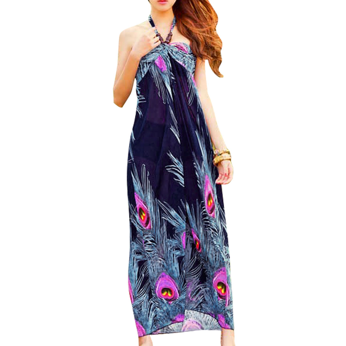 Women Peacock Feathers Printed Dark Blue Ruffled Selt Tie Strap Halter Dress XS